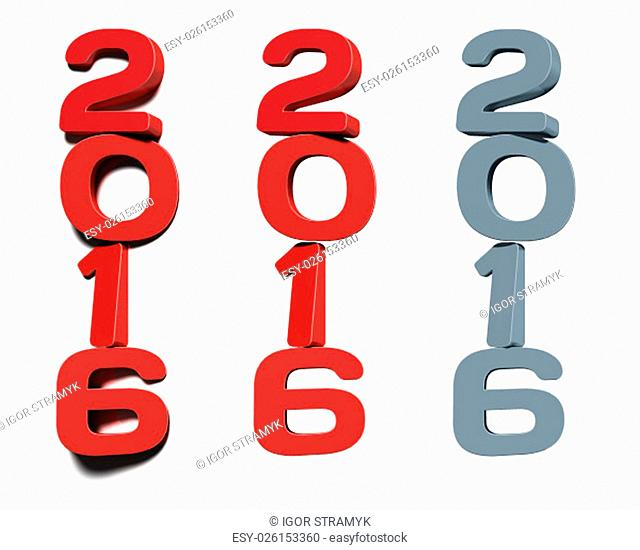 Digits 2016 three-dimensional rendering, for new year cards and calendars