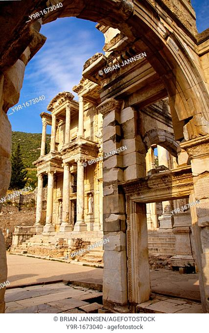 Ruins of the Library of Celsus in ancient city of Ephesus, near Selcuk Turkey