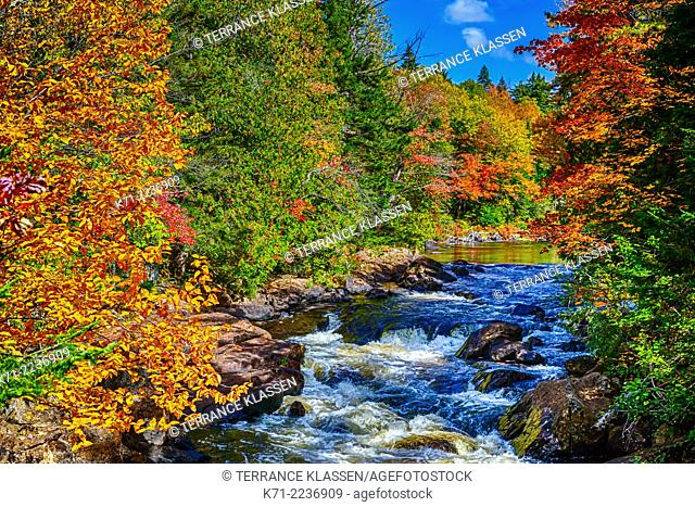 The Croches waterfalls and fall foliage color in Mont-Tremblant National Park, Quebec, Canada