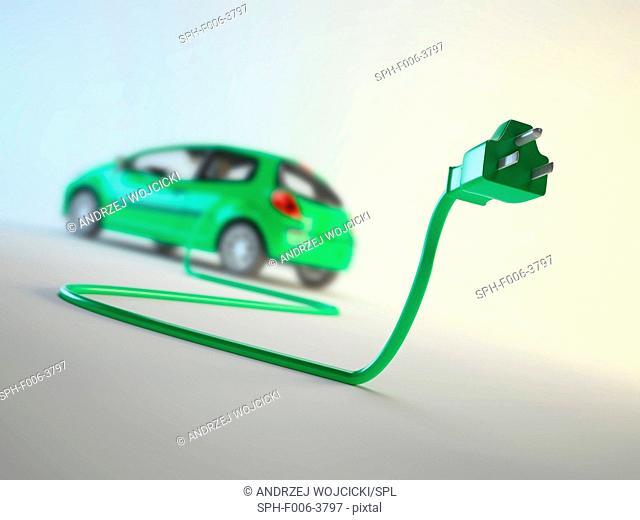 Electric car, computer artwork
