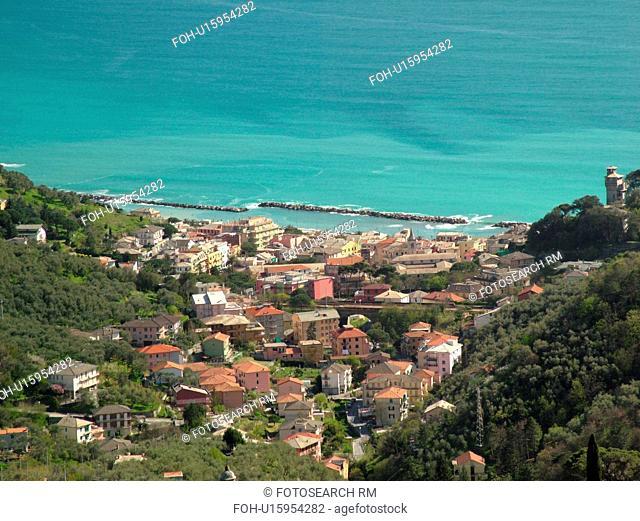 Liguria, Italy, Moneglia, Riviera di Levante, Ligurian Riviera, Europe, Scenic aerial view of the town of Moneglia along the Ligurian Sea