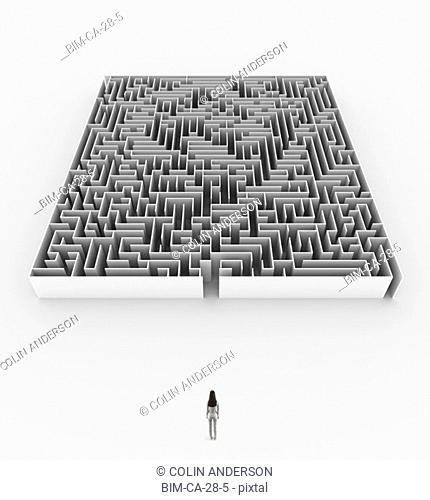 Woman approaching maze