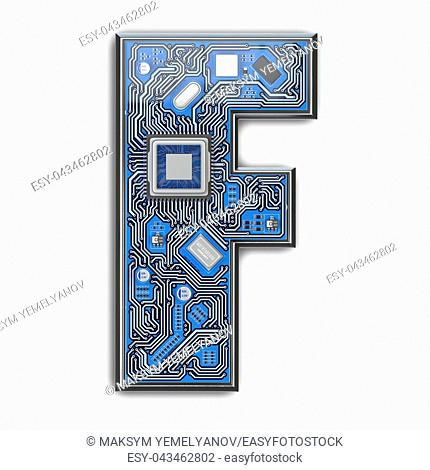 Letter F Alphabet in circuit board style. Digital hi-tech letter isolated on white. 3d illustration