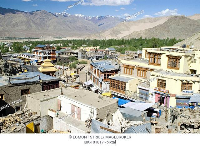View over the historic center of Leh, Indus valley, Ladakh, Jammu and Kashmir, India