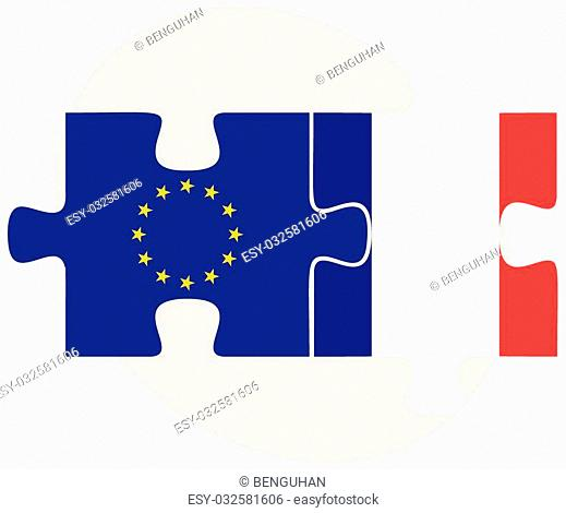 European Union and Saint Martin Flags in puzzle isolated on white background