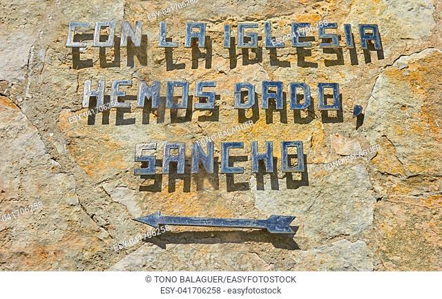 El Toboso sentence of Don Quijote novel in stone wall of Toledo La Mancha Spain