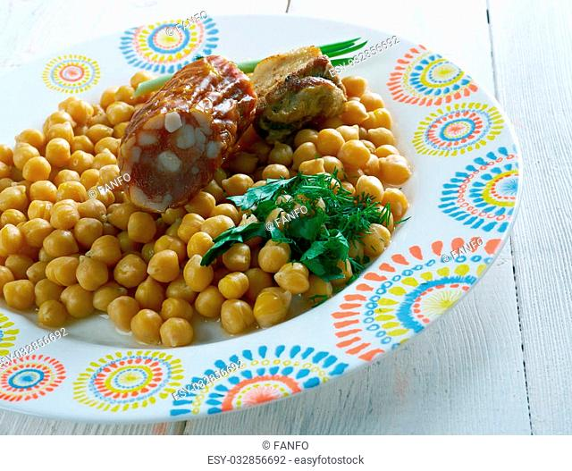 Cocido lebaniego - traditional dish from the region of Liébana in Cantabria, Spain