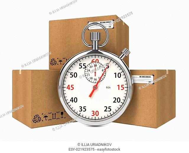 Stopwatch Over a Carton Boxes