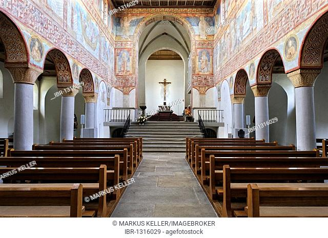 Inside the Pre-Romanesque Georgskirche church of St. George in Oberzell on the Reichenau island, Konstanz district, Baden-Wuerttemberg, Germany, Europe