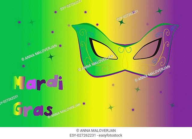 Picture ready for use in Mardi Gras thematic. Mask on vibrant background