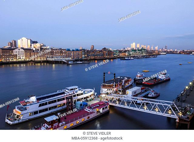 England, London, Sunset Over Docklands and Canary Wharf