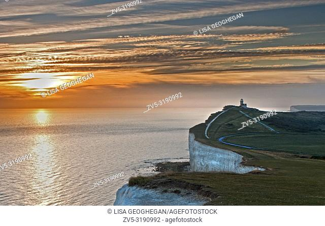 The Belle Tout Lighthouse at Beachy Head at sunset, Eatbourne, East Suusex, Uk