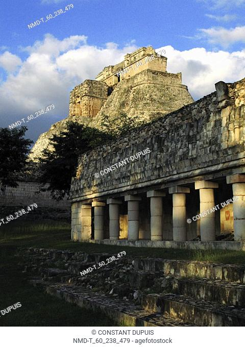 Facade of an old building, Pyramid Of The Magician, Uxmal, Yucatan, Mexico