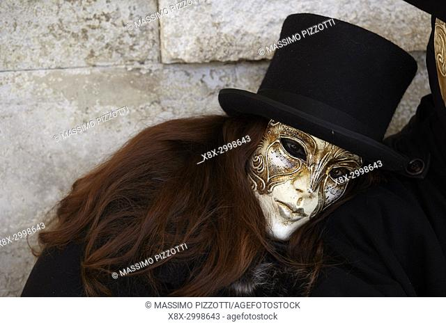 Traditional Venetian mask at Carnival 2017, Venice, Italy