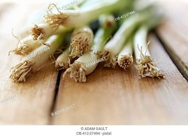 Still life close up fresh, organic, healthy, green onions and roots wood