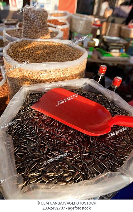 Sunflower seeds in sacks for sale at Selcuk market, Izmir Province, Aegean Coast, Turkey, Europe