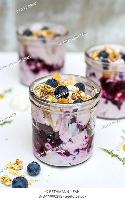 Blueberry dessert in a glass jar