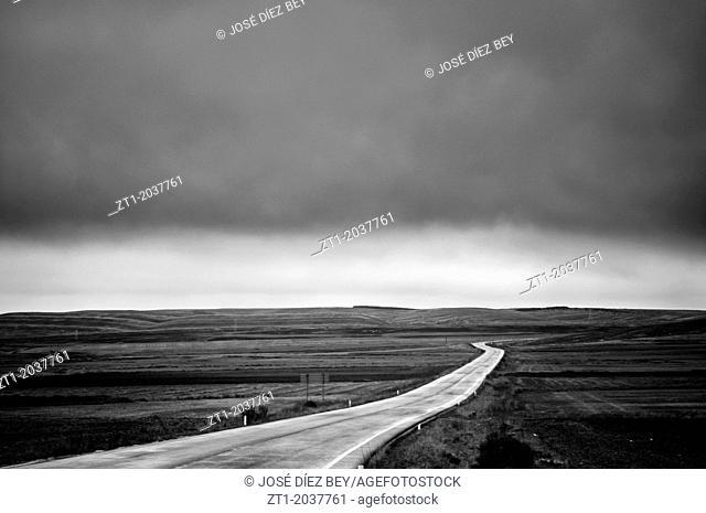 Road under the storm in Galve. A little village close to Teruel. Aragón. Spain