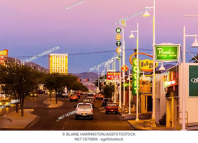 Central Avenue Historic Route 66 in the Nob Hill section of Albuquerque, New Mexico USA