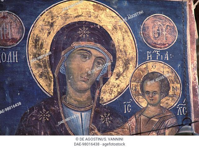 Madonna with Child, fresco in the church of the Monastery of the Cross, Jerusalem. Israel, 11th century