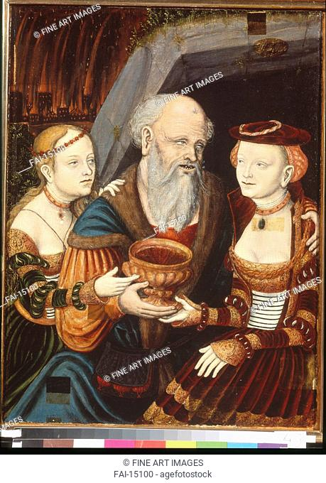 Lot and his Daughters. Krodel (Crodel), Wolfgang, the Elder (ca. 1500-ca. 1561). Oil on wood. Medieval art. 1542. State Museum of Foreign Art of Republic Latvia