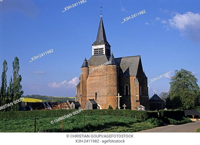 fortified church in the Thierache region, Aisne department, Picardy region, northern France, Europe