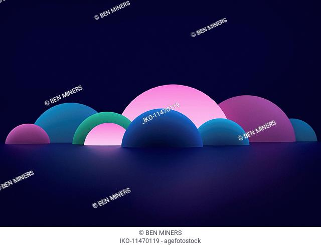 Glowing abstract hemisphere shapes
