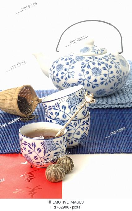 Asian style tea set in blue and white pattern