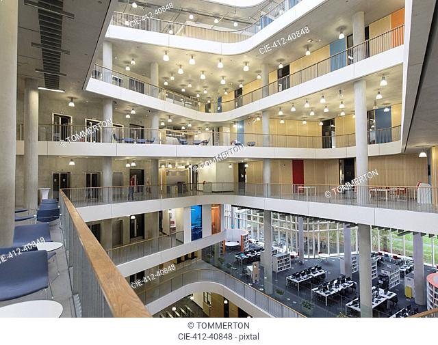 Modern office atrium with balconies