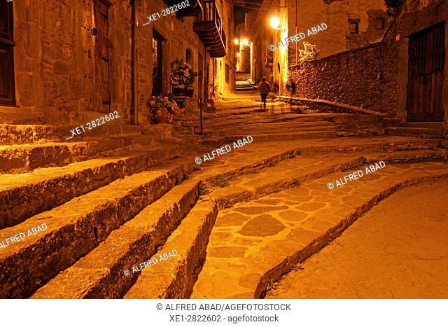 Staircase at night, Rupit, Girona, Catalonia, Spain