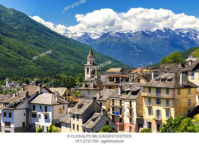 View from Craveggia of the town of Vocogno and the mountains of Val Vigezzo, Piedmont, Italy