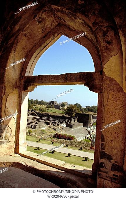 Jahaz Mahal through arch , Mandu , District Dhar , Madhya Pradesh , India