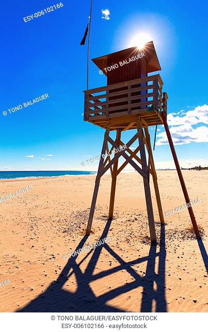 Canet de Berenguer beach in Valencia lifeguard house at mediterranean Spain