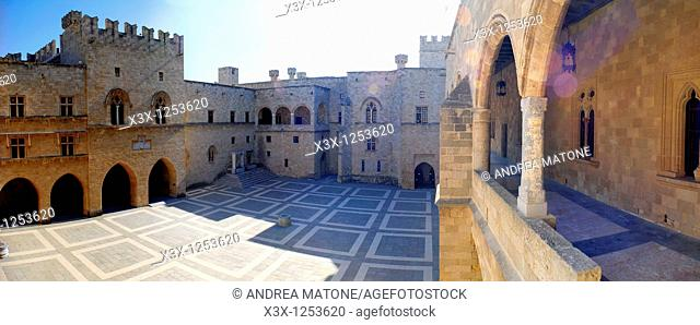 The inside courtyard Palace of the Grand Masters Rhodes Castle Island of Rhodes Greece