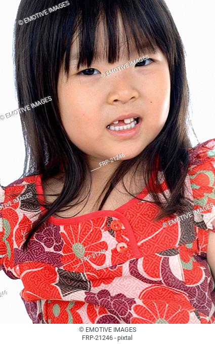 Girl wearing dress with floral pattern