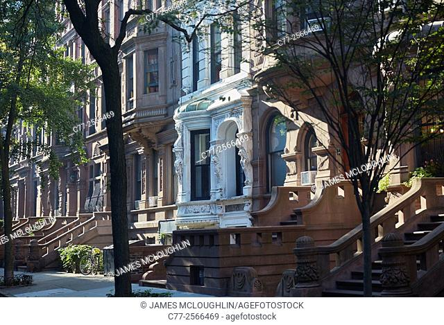 New York City, Manhattan, East side, Brownstones, street scene