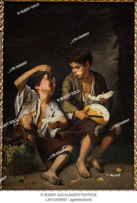 'Grape and Melon Eaters', 1645, by Bartolomé Esteban Murillo (1617-1682)