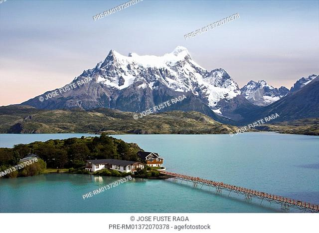 Hosteria Pehoe at Lake Pehoe in the Torres del Paine National Park, Chilean Patagonia, Torres del Paine National, Chile, South America