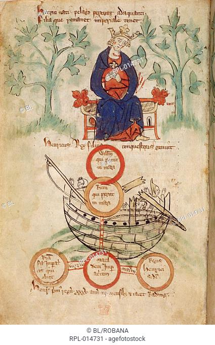 King Henry I on his throne mourning, genealogical table of his children and Matilda's two sons, the White Ship is depicted with broken masts Image taken from...