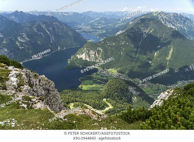 Obertraun and the landscape around lake Hallstätter See seen from above, Austria