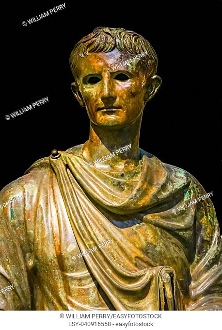 Bronze Emperor Augustus Caesar Statue National Archaeological Museum Athens Greece. Built 12 BC, found in Aegean sea