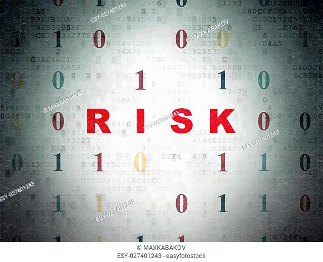 Business concept: Painted red text Risk on Digital Data Paper background with Binary Code