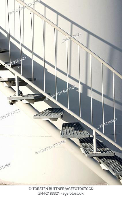 Stairs at the Base of an Enercon E66 1.8 Megawatts Wind Turbine in Schernham. Austria