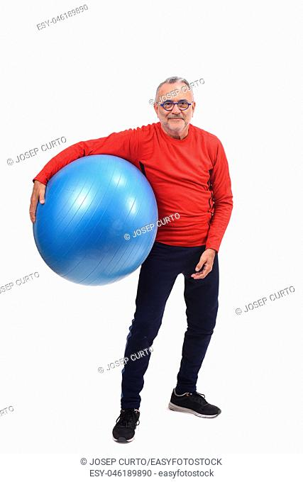 man with ball on white background