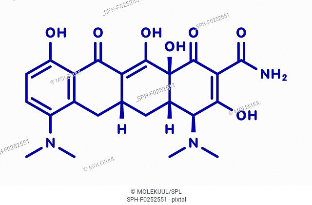 Minocycline antibiotic drug (tetracycline class) molecule. Blue skeletal formula on white background