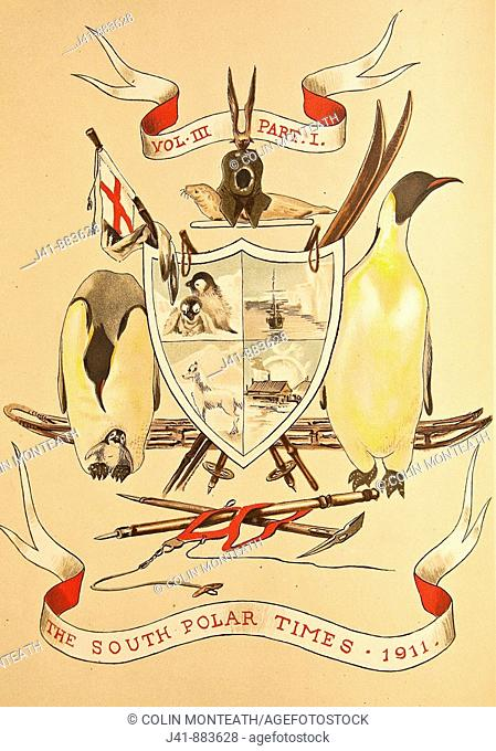 Coat of Arms from South Polar Times , 3 vols of articles and paintings from Captain Scott's Discovery 1901 and Terra Nova 1910 expedition members