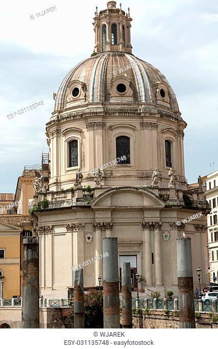 Rome, Italy. The Church of the Most Holy Name of Mary at the Trajan Forum (Italian: Santissimo Nome di Maria al Foro Traiano)