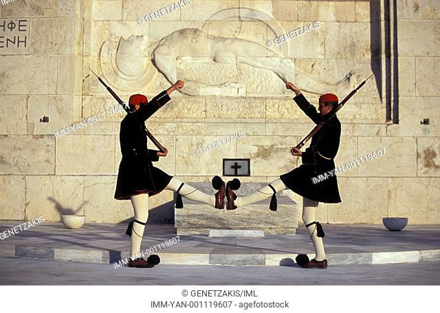 Syntagma, Parliament, Monument of the Unknown Soldier, presidential guards, Athens, Attica, Greece