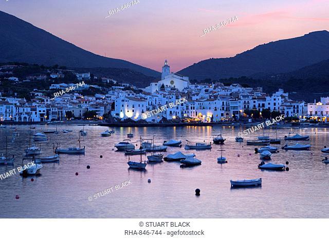 Harbour at dusk, Cadaques, Costa Brava, Catalonia, Spain, Mediterranean, Europe