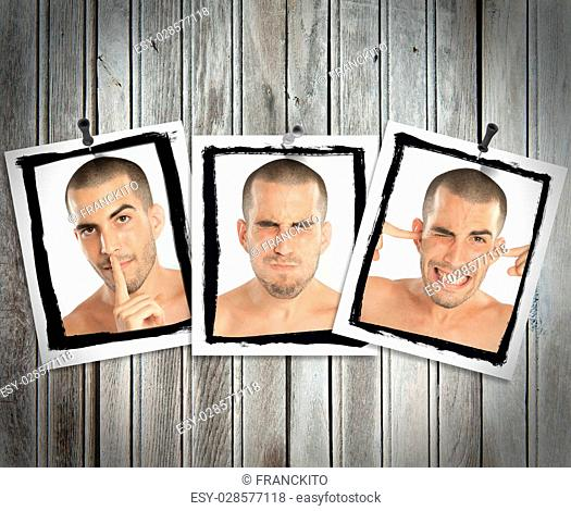 Succession of pictures posted on a wooden wall of a young man mimicking see no evil, hear no evil, speak no evil
